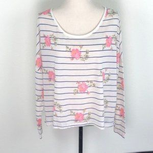 American Eagle Striped Floral Long Sleeve Size XL